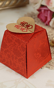 Floral style asiatique Red Wedding Favor Boxes - Ensemble de 12