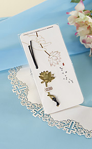 Golden Lotus Bookmark with Hide Rope