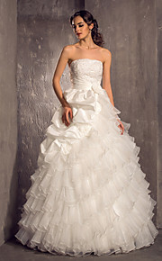 Lanting princesa pequeña / más tamaños de vestido de novia - piso de longitud organza sin tirantes de tafetán de marfil /