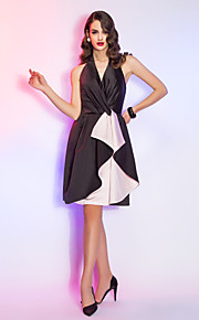 Cocktail Party / Holiday Dress - Black Plus Sizes / Petite A-line Halter Knee-length Satin