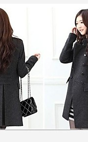 Women's Stand Collar Solid Color Double Breasted Long Style Slim Woolen Coat