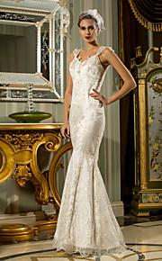 Lanting trompeta / sirena vestido de novia tallas grandes - marfil palabra de longitud del cordón de la reina Anne / satén del estiramiento