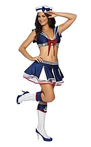 Słodki Sailor Girl Ink Niebieski Poliester Carnival Party Naval Jednolita z kokardą