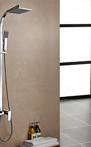 doccia rubinetto contemporanea impostare pioggia doccia cromato finitura ottone tre fori singola maniglia