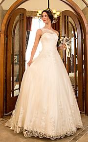 Lanting una línea / princesa más el tamaño de vestido de novia - marfil tren de barrido / cepillo de un solo hombro de tul / encaje