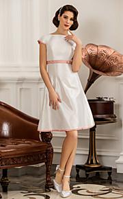 Vestido de Boda - Marfil Corte en A/Corte Princesa Corto/Mini - Escote en U Tafetán Tallas Grandes