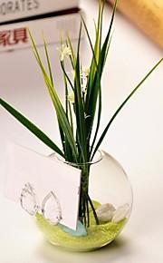 ball formet glass vase med lønneblad kortholderen bord deocrations (sand inkludert, planter ikke inkludert)