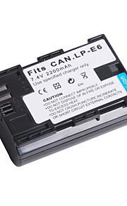 digital video batteri erstatte Canon LP-E6 til Canon EOS 5D Mark II og mere (7,4 V, 2200 mAh)