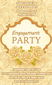 Personalized Gold Floral Engagement Party Cards - Set of 12