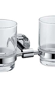 Chrome Finish Contemporary Style Brass Double Cup Toothbrush Holder