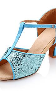 Chaussures de danse (Bleu) - Non personnalisable - Gros talon - Similicuir/Paillettes scintillantes - Danse latine
