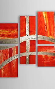 met de hand geschilderd abstract olieverfschilderij met gestrekte frame - set van 5