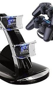 Dual USB med blå LED Opladning Dock Station Stand til PS4 controller (sort)