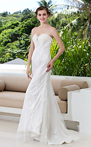 Vestido de Boda - Marfil Corte Columna Barrida - Sweetheart Encaje Tallas Grandes