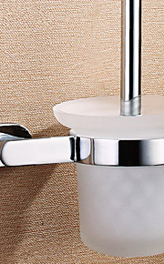 Solid Brass Toilet Brush Holder with Brush,6inch x 5 inch x 14 inch
