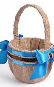 Linen Blue Ribbon Bow Flower Basket Flower Girl Basket