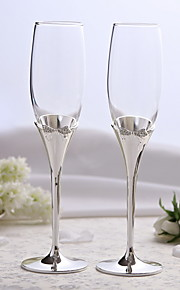 Elegant Silver Plated Toasting Flutes With Bow