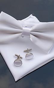 xinclubna® Herren-Hochzeitsgesellschaft Polyester bowties mit passendem Einstecktuch& Manschettenknopf (10 Farben)