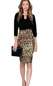 Frauen Animal Print Leopard Promi Stretch High Waist Zip Cocktail Bodycon Bleistiftrock