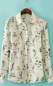 Damen Druck Einfach Lässig/Alltäglich Hemd,Hemdkragen Frühling / Sommer / Herbst Langarm Mehrfarbig Dünn