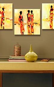 étiré toile art abstrait de personnes Parure de trois