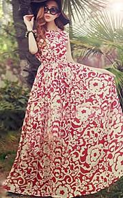 Damen Kleid - Swing Leger Druck Maxi Polyester Rundhalsausschnitt