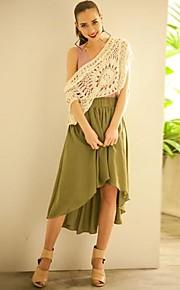 Women's Red/Black/Brown/Green/Beige Skirts , Vintage/Beach/Casual/Work Above Knee