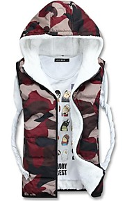 Zian® Men's V Neck Cardigan Zipper Hoodies Keep Warm Camouflage Assorted Color Sleeveless Cotton Waistcoat