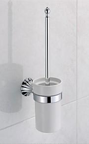 Contemporary Chrome Finish Brass Material Toilet Brush Holder