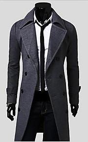 Mantel (Schwarz / Gelb / Grau , Baumwolle / Polyester) - für Freizeit / Büro - für MEN - Einfarbig - Lang