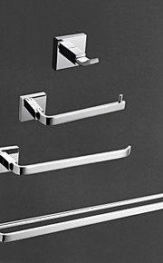 ottone con finitura cromata bagno set di accessori contemporanei, 4 pezzi collezione da bagno