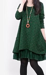 kvinders rund krave flora print syninger løs langærmet a-line plus size kjole