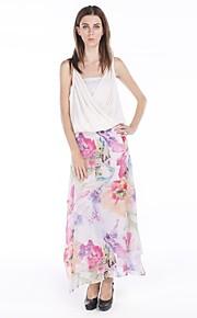 haoduoyi® Frauen spezielle Aquarell-Blumendruck Chiffon Seitenschlitz eleganten Rock