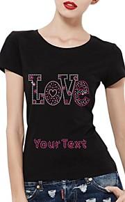 personlig rhinestone t-tröjor kärlek mönster kvinnors bomull korta ärmar