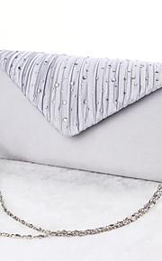 Women Silk Event/Party Evening Bag Silver / Black / Almond