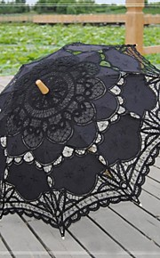 Antique Black Patchwork Fashional Embroidered Gothic Lace Carnivale Parasol Steampunk Circus Photo Prop