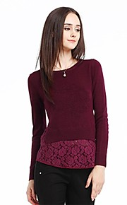 Women's Red Pullover , Vintage/Casual/Lace Long Sleeve