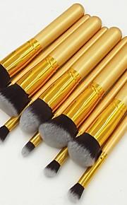 10Pcs All Gold Professional Makeup Set Kits Brushes Kabuki Makeup Cosmetics Brush Tool