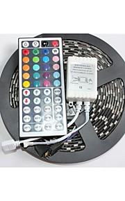 Black PCB Board Waterproof  RGB 5M 300x5050 SMD White Light LED Strip Lamp DC 12V+44 Key IR Remote Controller
