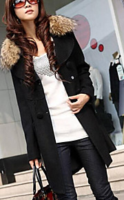 Women's  Fur  Collar  Pure Slim Trench Coat (More Colors)