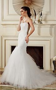 lanting ajustement& robe de mariée flare - cour d'ivoire de train bretelles tulle