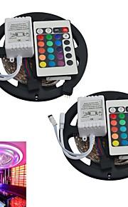 jiawen® 2шт 5м 300x3528 SMD RGB LED полосы света с 24key пульта дистанционного управления (DC12V)