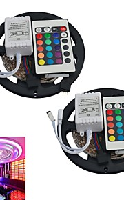 jiawen® 2pcs 5m 300x3528 SMD RGB LED bande lumineuse avec la télécommande 24key (DC12V)