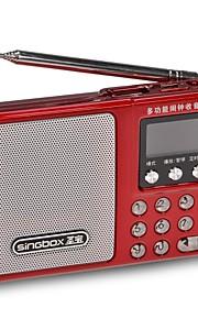draagbare multifunctionele fm-radio muziekspeler geluidsversterkers digitale wekker desktop decoratie binnenshuis-rood