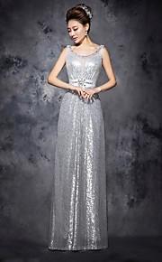 Официальный вечер Платье - Серебряный Трапеция Круглый Длина до пола Тюль