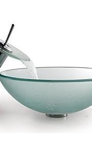 Contemporaneo 1.2*42*14.5 Tondo Materiale del dissipatore è Vetro temperatoLavandino bagno Rubinetto per bagno Anello di montaggio per