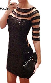 NUO WEI SI ® Women's Sexy  Sequined Club Mesh Patchwork Black Striped Print Bodycon  Party Dresses