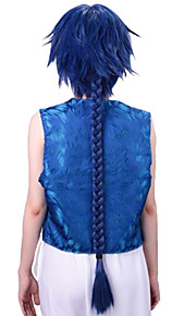 Angelaicos Men Magi The Labyrinth Of Magic Aladdin Boy Long Blue Braid Halloween Party Cosplay Wig Costume