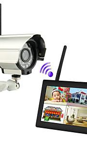"""nye trådløse 4-kanals quad dvr 1 kameraer med 7 """"TFT-LCD-skærm hjem sikringssystem"""