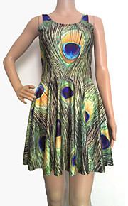 Pfauenfeder Druck sleevless Kleid der Frauen